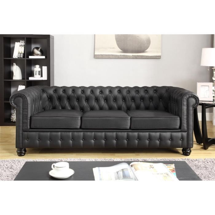 chesterfield canap en cro te de cuir et simili 3 places 213x88x75 cm noir achat vente. Black Bedroom Furniture Sets. Home Design Ideas