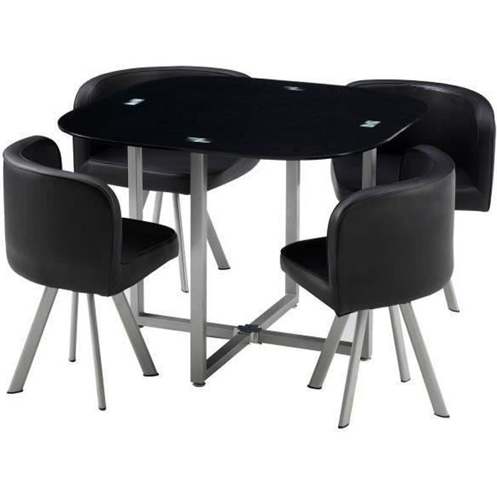 cosmic ensemble table manger de 2 4 personnes 4 chaises contemporain en m tal laqu et. Black Bedroom Furniture Sets. Home Design Ideas