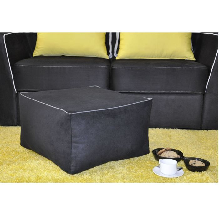 pouf coussin de sol carre noir achat vente pouf poire microfibre 100 polyester cdiscount. Black Bedroom Furniture Sets. Home Design Ideas