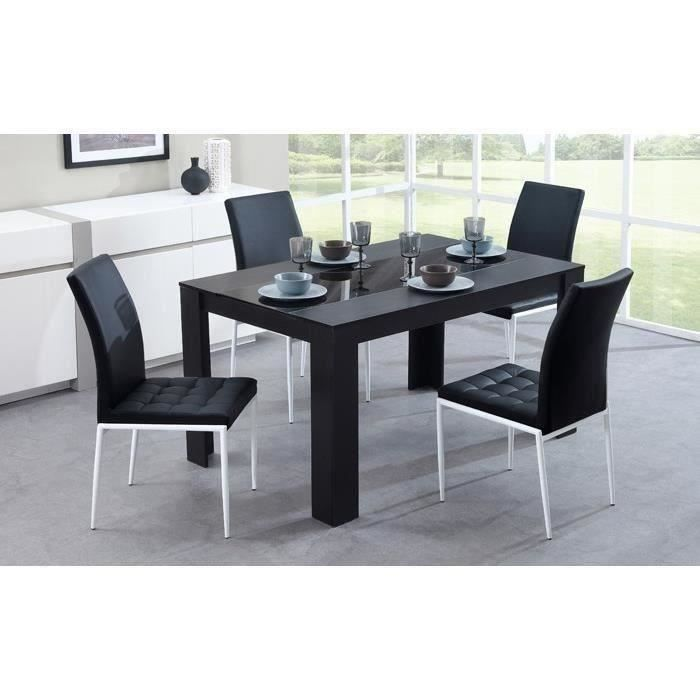 damia table manger 6 personnes 140x90 cm noir achat vente table a manger seule damia. Black Bedroom Furniture Sets. Home Design Ideas