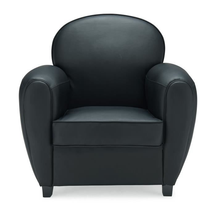 dayton fauteuil club en simili noir achat vente fauteuil structure bois massif assise en. Black Bedroom Furniture Sets. Home Design Ideas