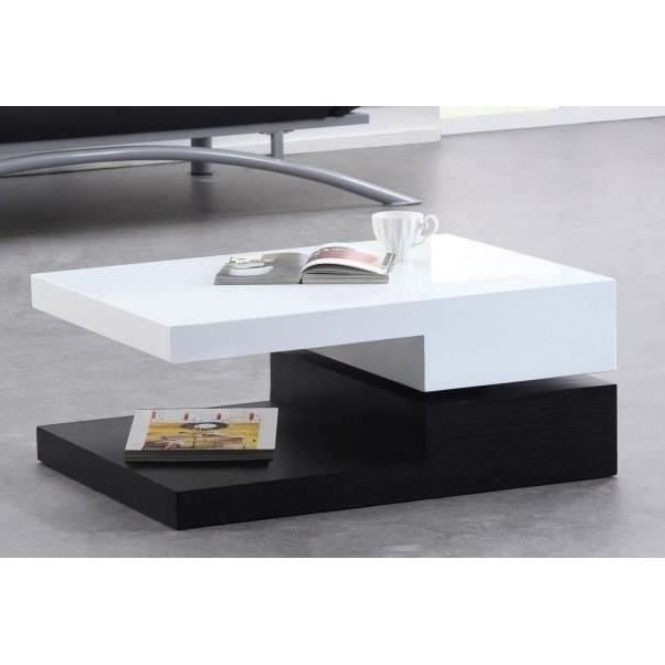 elypse table basse pivotante 80cm laque blanc noir achat vente table basse elypse table. Black Bedroom Furniture Sets. Home Design Ideas