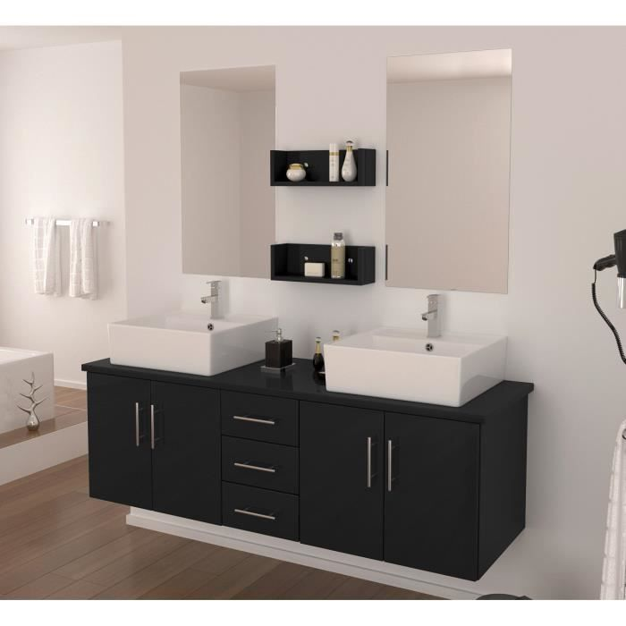 diva salle de bain compl te double vasque 150 cm laqu noir brillant achat vente salle de. Black Bedroom Furniture Sets. Home Design Ideas