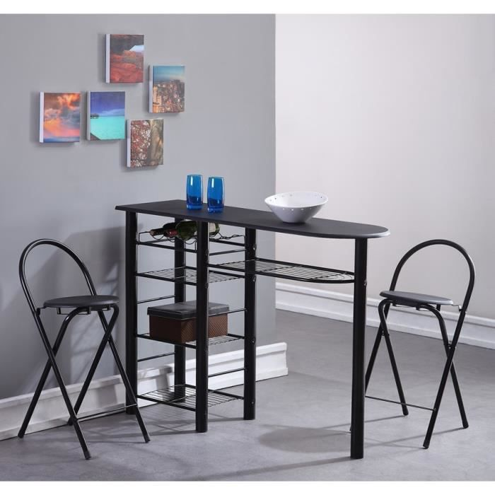 first ensemble repas coloris noir 3 pi ces 1 table bar 2 chaises achat vente table a. Black Bedroom Furniture Sets. Home Design Ideas