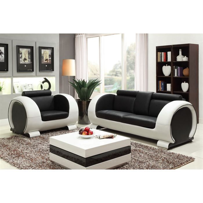 austin ensemble canap 3 places fauteuil en cro te de cuir 206x88x80 cm 116x88x80 cm. Black Bedroom Furniture Sets. Home Design Ideas