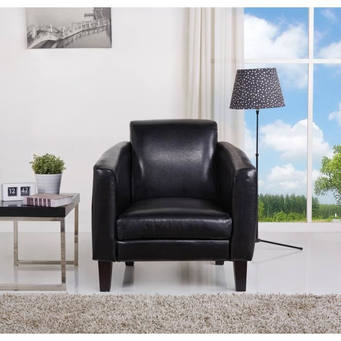 james fauteuil avec accoudoirs 88x82 cm simili noir achat vente fauteuil structure. Black Bedroom Furniture Sets. Home Design Ideas