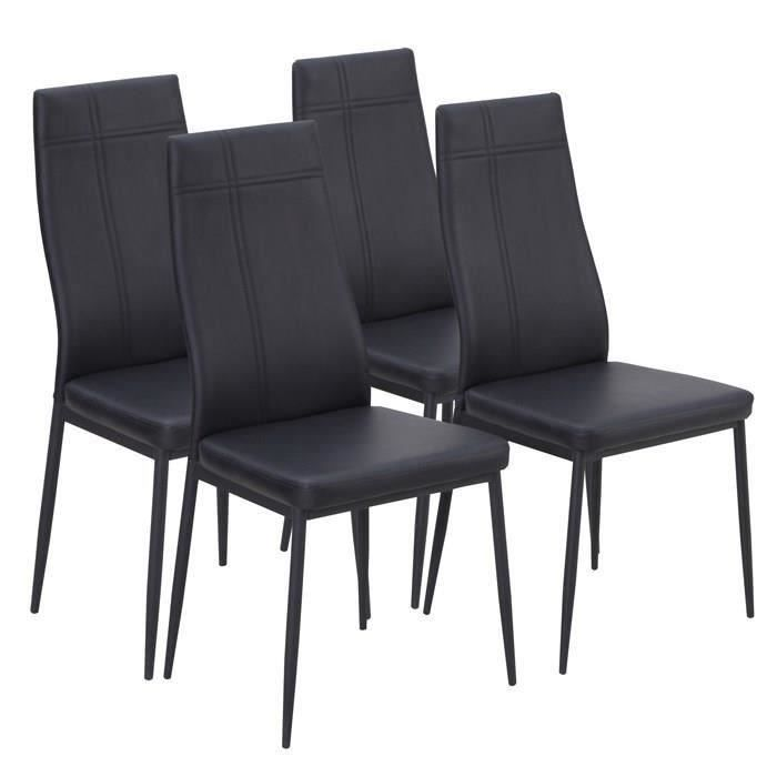 lot de 4 chaises de salle a manger noires meubles bon prix moncornerdeco. Black Bedroom Furniture Sets. Home Design Ideas