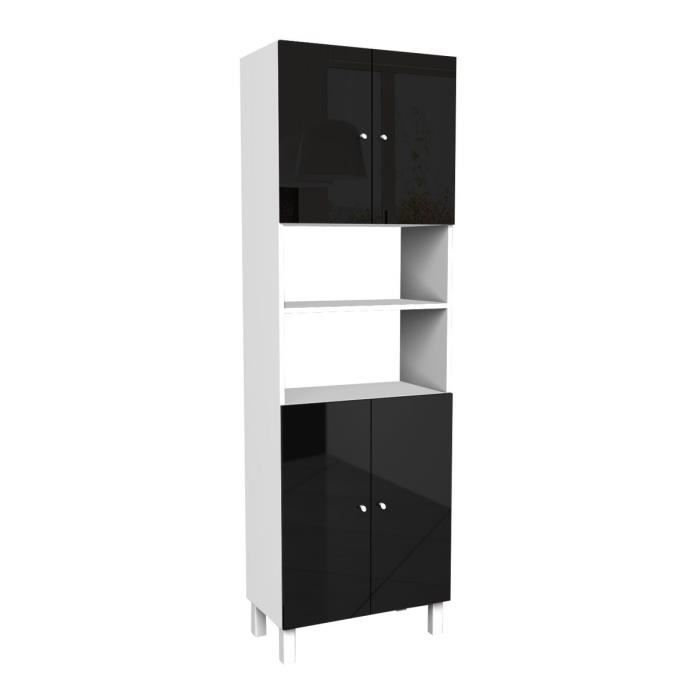 corail armoire de salle de bain l 60 cm noir laqu. Black Bedroom Furniture Sets. Home Design Ideas