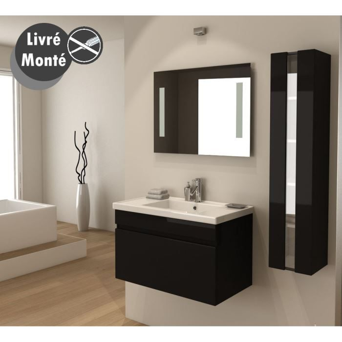 Alban salle de bain compl te simple vasque 80 cm noir for Element lavabo salle bain