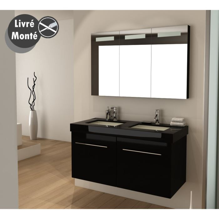 ourea salle de bain compl te double vasque 1m20 laqu. Black Bedroom Furniture Sets. Home Design Ideas