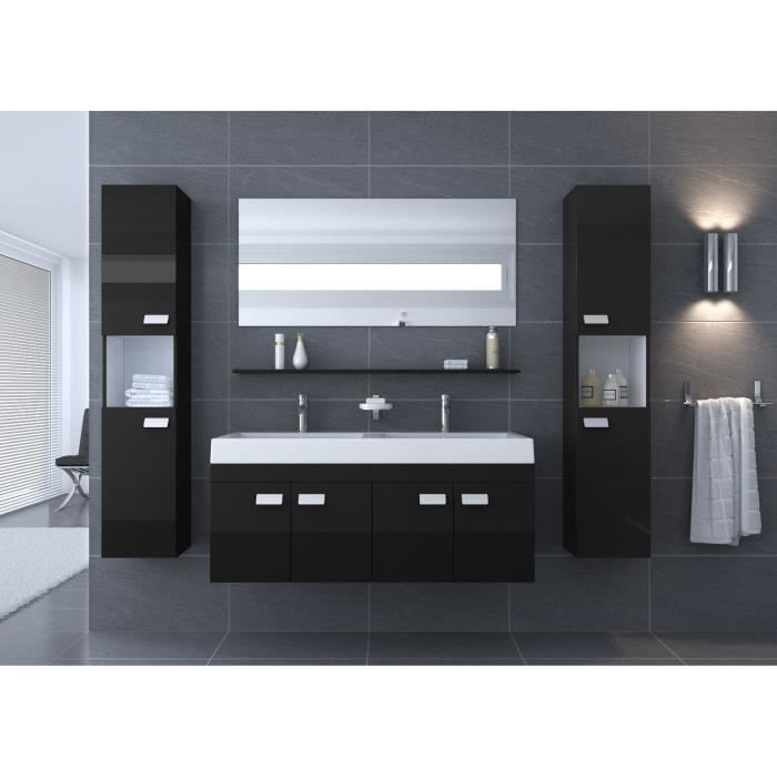 alpos salle de bain compl te double vasque 120 cm noir brillant achat vente salle de bain. Black Bedroom Furniture Sets. Home Design Ideas