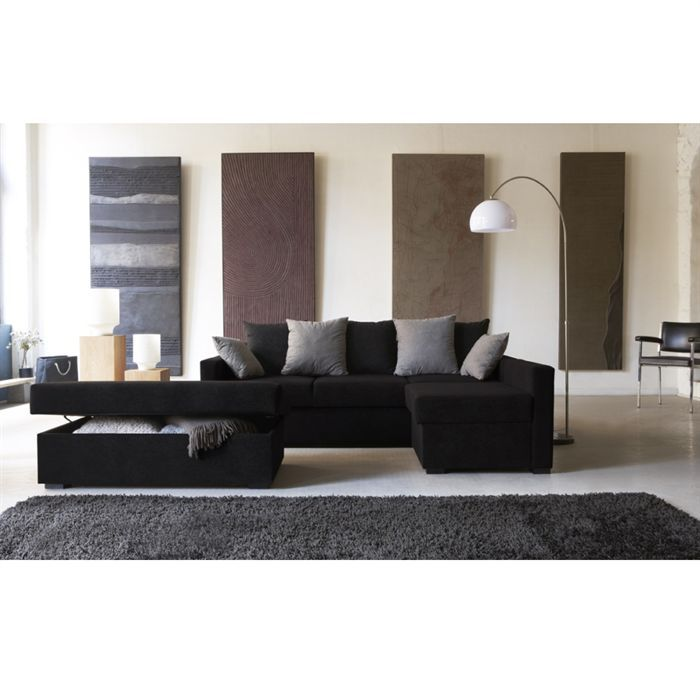 morley canap convertible d 39 angle r versible noir achat. Black Bedroom Furniture Sets. Home Design Ideas