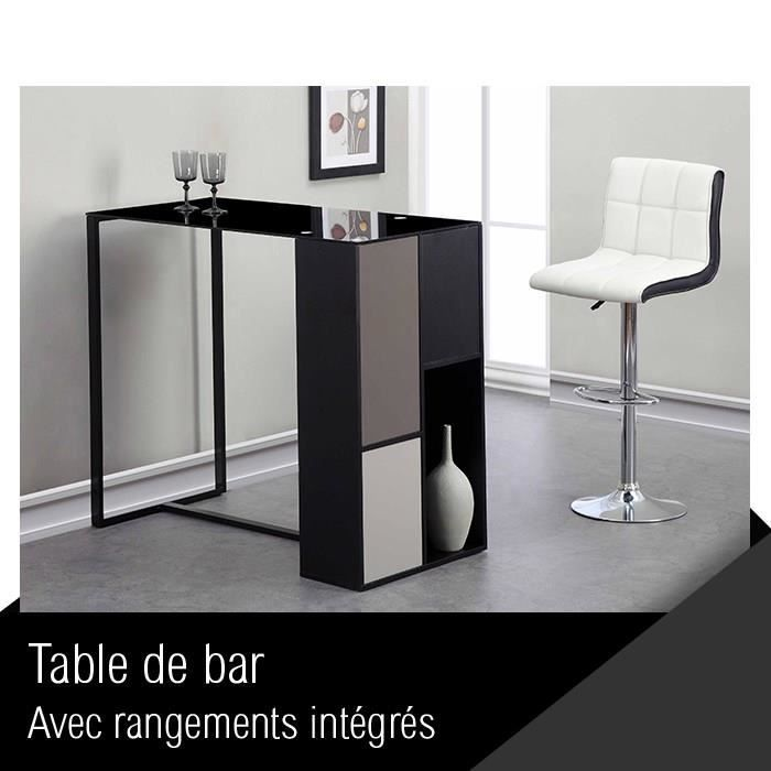 mozaic table de bar 120 cm laqu noir verre achat vente meuble bar mozaic table de bar 120. Black Bedroom Furniture Sets. Home Design Ideas