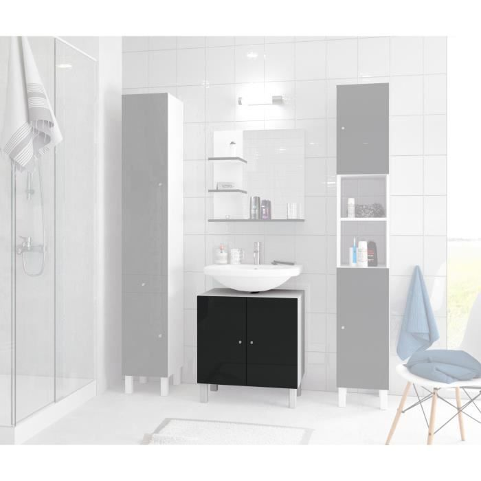 corail meuble sous lavabo l 60 cm noir laqu achat vente meuble vasque plan meuble sous. Black Bedroom Furniture Sets. Home Design Ideas