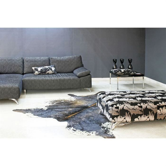 tapis peau de vache noir blanc achat vente tapis cdiscount. Black Bedroom Furniture Sets. Home Design Ideas