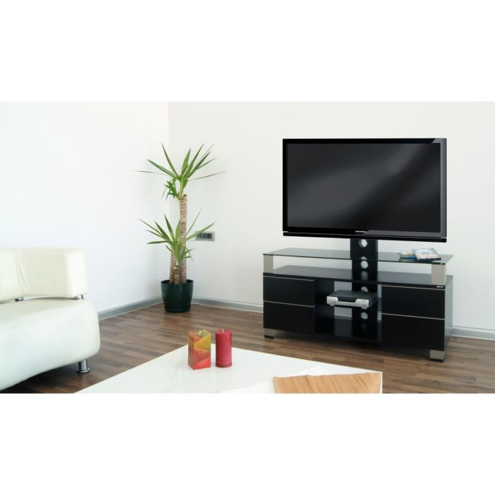 pone meuble tv support lcd led laqu noir 120cm achat vente meuble tv pone meuble tv avec. Black Bedroom Furniture Sets. Home Design Ideas