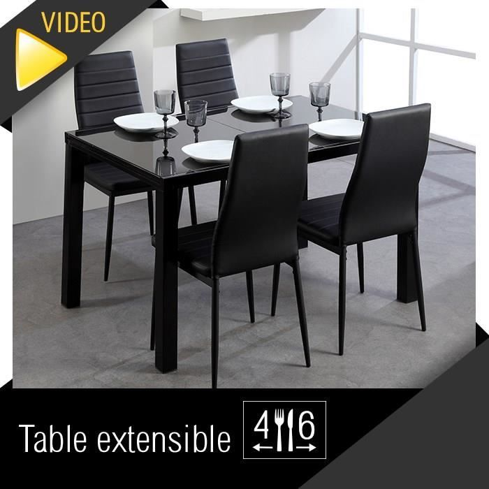roma table extensible 120 180cm verre noir achat vente. Black Bedroom Furniture Sets. Home Design Ideas