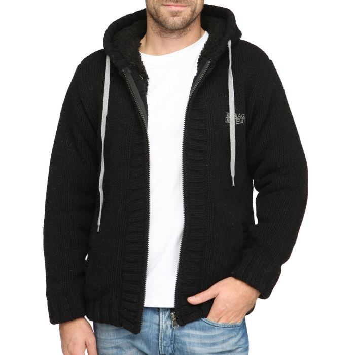 biaggio veste sweat zipp capuche homme noir achat vente sweatshirt cdiscount. Black Bedroom Furniture Sets. Home Design Ideas
