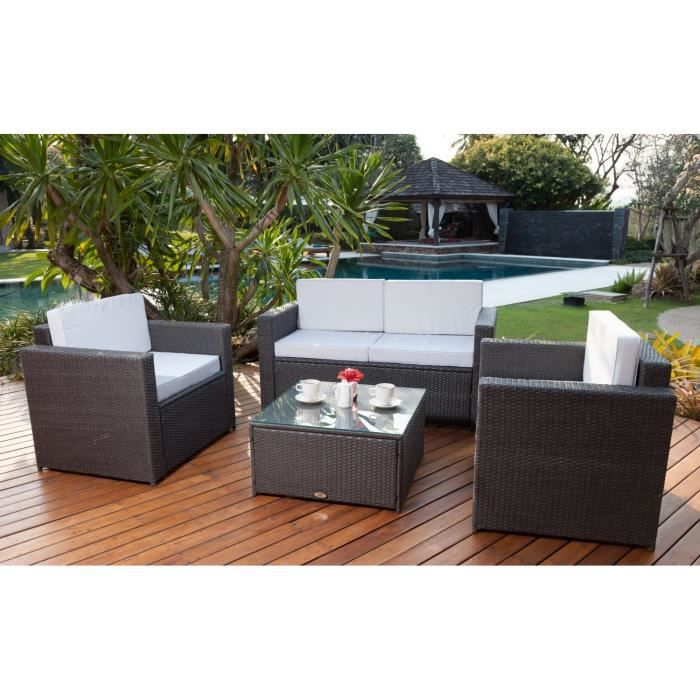 salon de jardin r sine tress e acier gris moncornerdeco. Black Bedroom Furniture Sets. Home Design Ideas