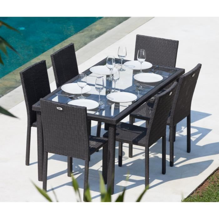 arcachon ensemble table de jardin 6 places acier et r sine tress e noir achat vente salon. Black Bedroom Furniture Sets. Home Design Ideas