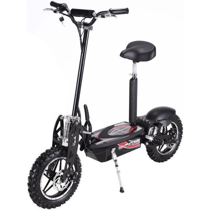 trottinette adulte electrique cross 800w noire achat vente trottinette electrique. Black Bedroom Furniture Sets. Home Design Ideas