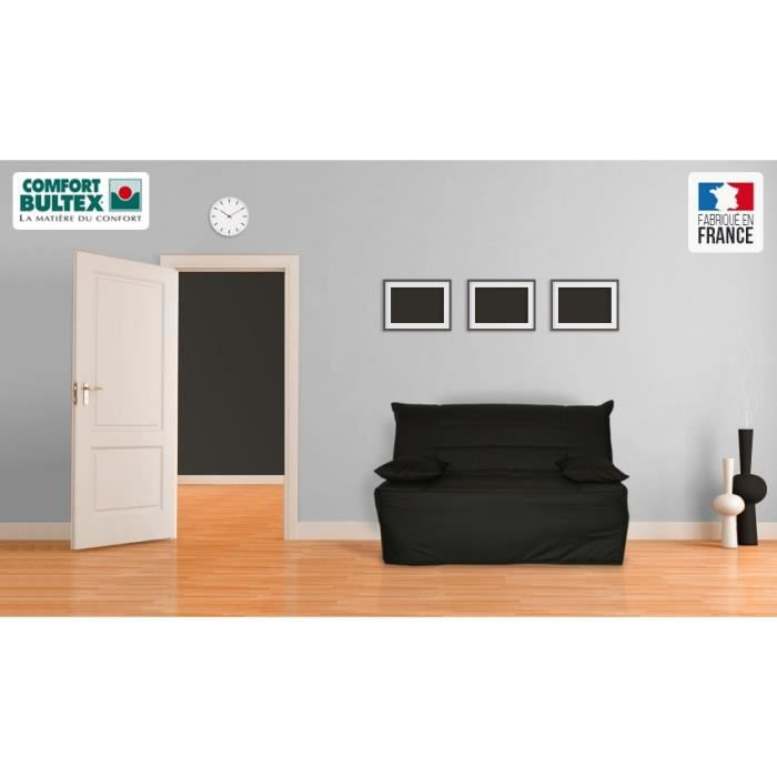 trix banquette bz 2 places 198x140x9 cm tissu noir. Black Bedroom Furniture Sets. Home Design Ideas