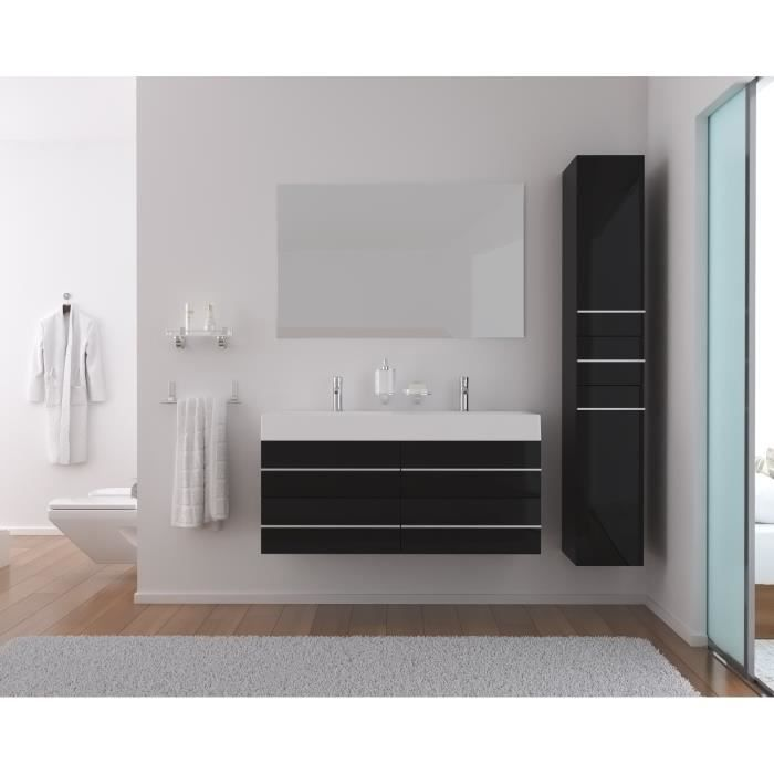 loft salle de bain compl te double vasque 120cm noir. Black Bedroom Furniture Sets. Home Design Ideas