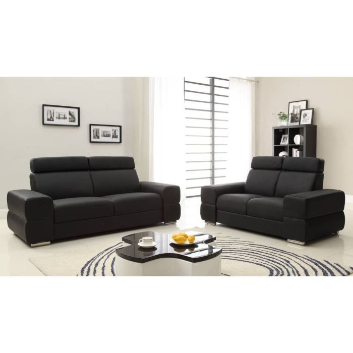 wink canap s en cro te de cuir 3 et 2 places 200x85x90. Black Bedroom Furniture Sets. Home Design Ideas