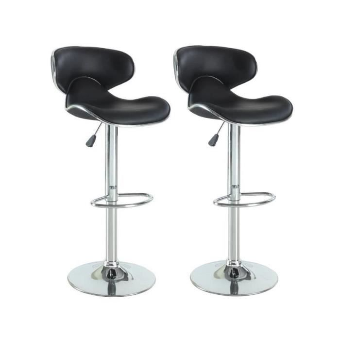 York lot de 2 tabourets de bar en simili noir achat - Tabouret de bar contemporain ...