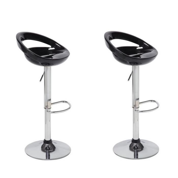 Moon lot de 2 tabourets de bar r glables noir achat - Tabouret de bar hauteur reglable ...