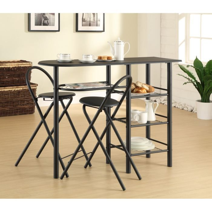 Smoothie ensemble repas d cor noir 1 table desserte 118cm - Table de cuisine pliable ...