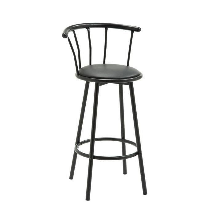 bistrot tabouret de bar bistrot en m tal rev tement simili noir contemporain l 56 5 x p 40. Black Bedroom Furniture Sets. Home Design Ideas