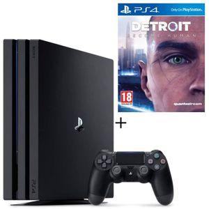 CONSOLE PS4 NOUVEAUTÉ Pack PS4 Pro 1 To Noire + Detroit Become Human