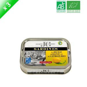 PRODUIT DE SARDINE Lot de 3 filets de sardines au citron et à l'huile