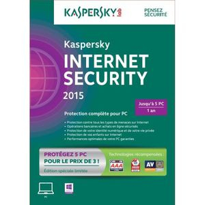 ANTIVIRUS Kaspersky Internet Security 2015 (5 postes / 1 an)