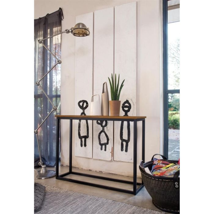 facto console meuble style industriel en m tal laqu poxy noir et plateau mdf plaqu ch ne. Black Bedroom Furniture Sets. Home Design Ideas