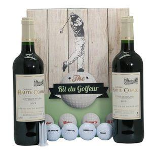 COFFRET CADEAU VIN Coffret Golf 4 balles + tee + 2 btles de Bordeaux