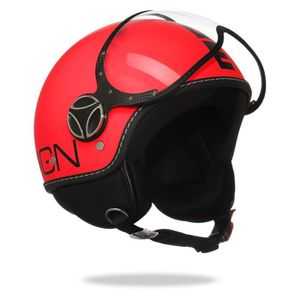 CASQUE MOTO SCOOTER MOMO DESIGN FGTR Fluo Casque Jet Orange Logo Noir