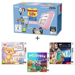 CONSOLE 3DS Pack 2DS Rose + Mon ours et moi + Miitopia + La Ma
