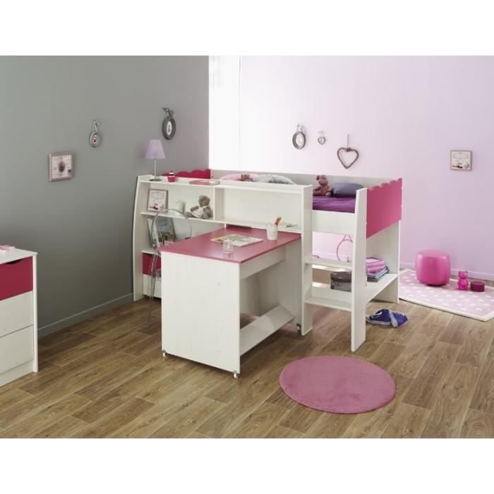 lilou lit enfant combin d cor pin et rose l116 cm achat vente lit mezzanine lit combin. Black Bedroom Furniture Sets. Home Design Ideas