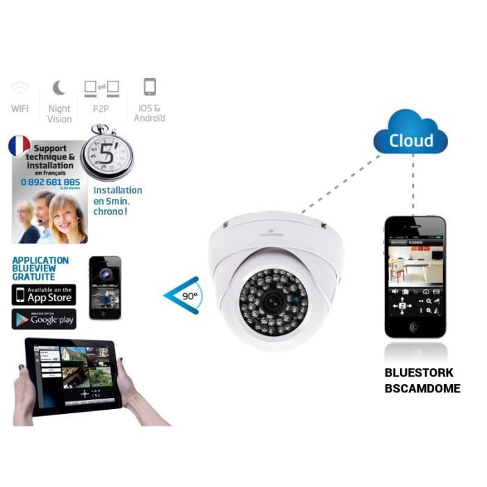 bluestork cam ra cloud dome d int rieur connect achat. Black Bedroom Furniture Sets. Home Design Ideas