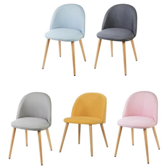 Macaron lot de 5 chaises de salle manger tissu 5 - Alinea chaise salle a manger ...