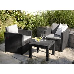 Ensemble table et chaise de jardin Salon de jardin en imitation résine tressée ALLIBE