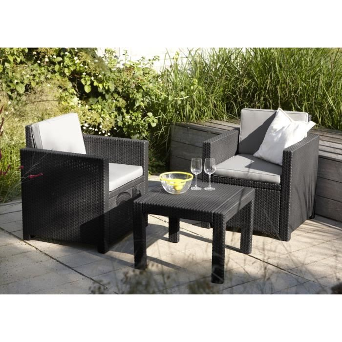 Victoria salon de jardin 2 places aspect rotin achat vente salon de jardi - Salon jardin 2 places ...