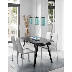 Table a manger en verre extensible achat vente table a for Table extensible 4 8 personnes