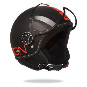 CASQUE MOTO SCOOTER MOMO DESIGN FGTR Fluo Casque Jet Noir Logo Orange