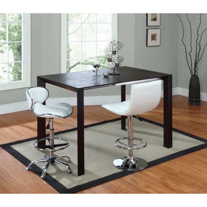 Amoro Table Haute Extensible 90 140cm Laquee Noir Achat Vente