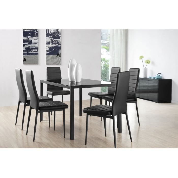 santa table manger 6 personnes 140x80 cm 6 chaises en simili noir achat vente table a. Black Bedroom Furniture Sets. Home Design Ideas