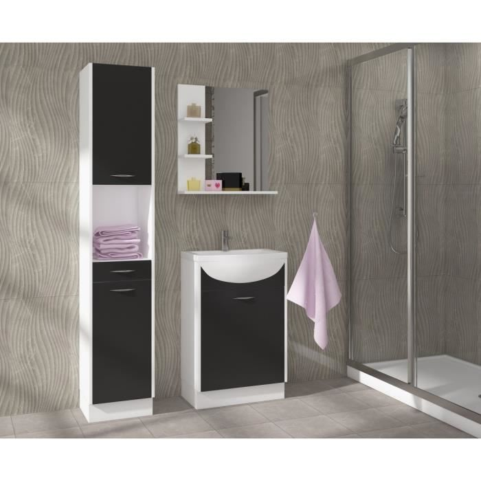 celso salle de bain compl te simple vasque 50 cm noir mat achat vente salle de bain. Black Bedroom Furniture Sets. Home Design Ideas