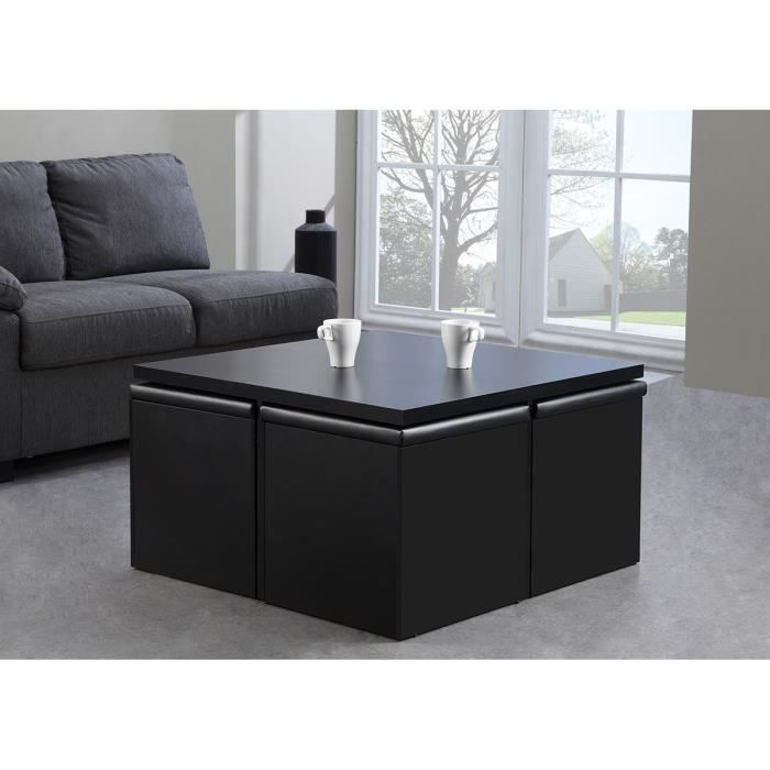 Laly table basse carr e 4 poufs l80cm noir achat vente for Table de salon carre